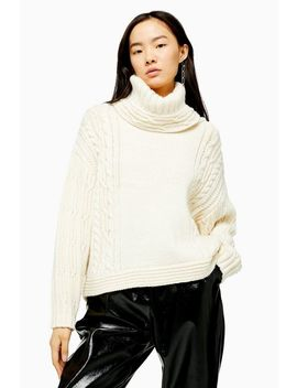 Ivory Knitted Chunky Cable Roll Neck Jumper by Topshop