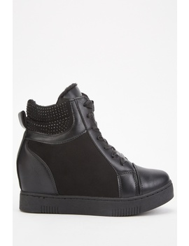 Contrast Encrusted Wedged Boots by Everything5 Pounds