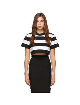 Black & White Striped 'chynatown' Cropped T Shirt by Alexander Wang