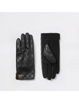 Black Ri Embossed Faux Leather Gloves by River Island