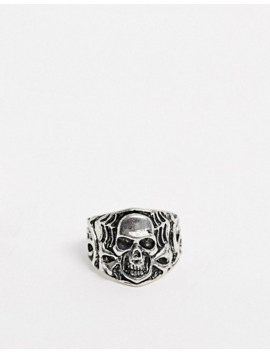 Asos Design Skull Ring In Burnished Silver Tone by Asos Design