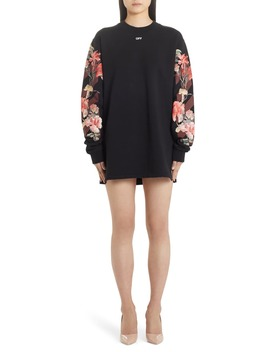 Flowers Carryover Long Sleeve Sweatshirt Dress by Off White