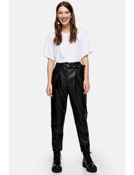 Black Faux Leather Pu Belted Peg Trousers by Topshop