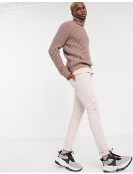 Asos Design Heavyweight Fisherman Rib Roll Neck Sweater In Pink by Asos Design