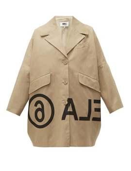 Logo Print Oversized Cotton Twill Jacket by Mm6 Maison Margiela