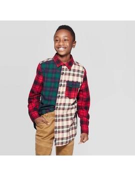 Boys' Long Sleeve Mixed Plaid Flannel Button Down Shirt   Red/Green/Cream Art Class™ by Art Class