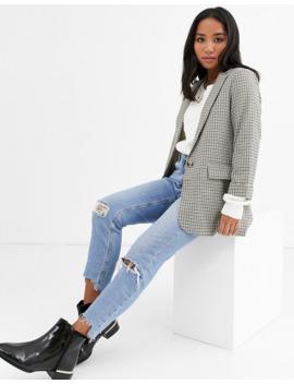 New Look Petite   Blazer à Carreaux Avec Motif   Noir by New Look