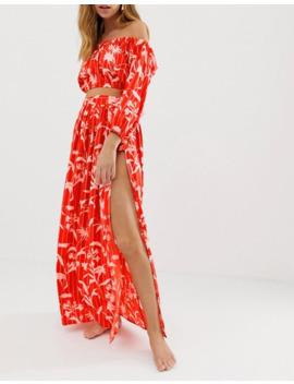 Asos Design Petite Chiffon Flamenco Floral Stripe Print Beach Bardot Top Co Ord by Asos Design