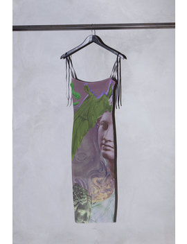 Auné Trompe L'œil Print Mesh Midi Dress   Beige/Green by Garmentory