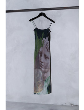 AunÉ Trompe L'Œil Print Mesh Midi Dress   Green/Black by Garmentory