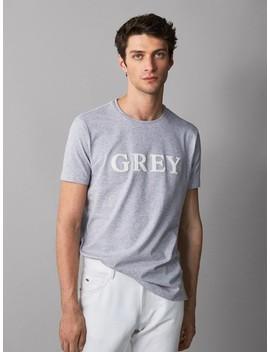 """Baumwollshirt Mit Schriftzug """"Grey"""" by Massimo Dutti"""