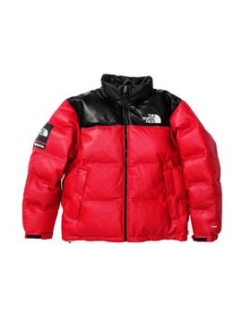 Supreme The North Face Leather Nuptse Jacket Red by Stock X