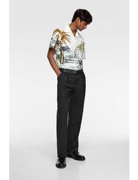 Popelinowa Koszula W Palmy by Zara