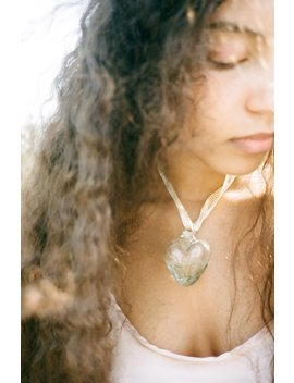 Alexa De La Cruz Glass Heart Necklace   Clear by Garmentory