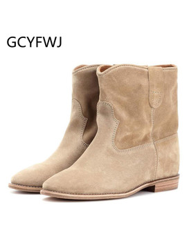 Gcyfwj Classic Retro Nude Suede Ankle Boots For Women Embroider Increase Heels Short Boots Comfortable Flat Winter Shoes Woman by Ali Express.Com