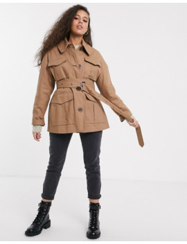 Asos Design Petite   Trench Coat Fonctionnel   Taupe by Asos Design