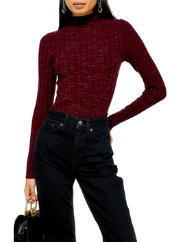 Wide Rib Funnel Neck Top by Topshop