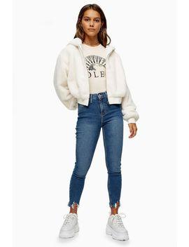 Petite Mid Blue Jagged Hem Jamie Jeans by Topshop