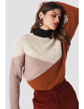 Color Blocked Round Neck Knitted Sweater Flerfärgad by Na Kd Trend