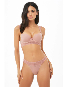 Microfiber Lace Trim Cheeky Panty by Forever 21