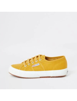 Superga Yellow Lace Up Canvas Trainers by River Island