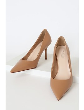 Alice Beige Pointed Toe Pumps by Raid