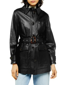 Casey Belted Leather Jacket by Topshop