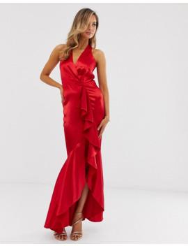 City Goddess Satin Maxi Dress by Asos