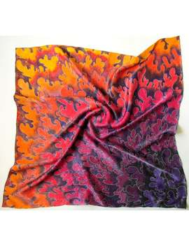 Batik Shawl 'flamenco' Hand Painted On Silk. Made To Order. by Etsy