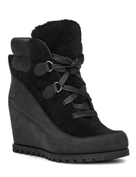 Valory Waterproof Suede & Leather Wedge Booties by Ugg