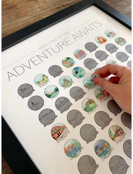 Adventure Awaits   World Bucket List   Scratch Off Print   Wanderlust   World Travel by Etsy