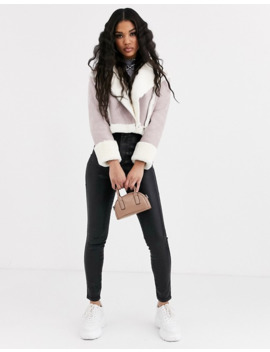 Missguided Cropped Jacket With Borg Trims In Lilac Faux Suede by Missguided's