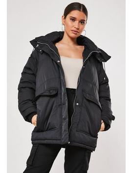 Patch Pocket Hooded Padded Coat by Missguided