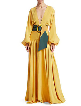Felicity Balloon Sleeve Belted A Line Maxi Dress by Silvia Tcherassi