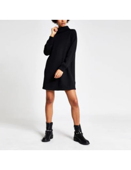 Black Ribbed Roll Neck Sweatshirt Dress by River Island