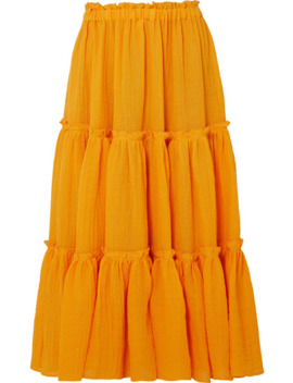 Tiered Linen Blend Gauze Midi Skirt by Lisa Marie Fernandez