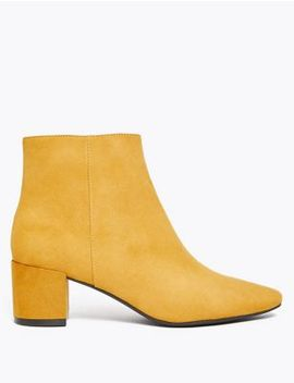 Block Heel Almond Toe Ankle Boots by Marks & Spencer