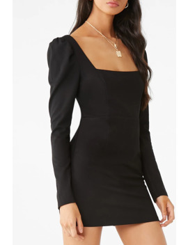Puff Sleeve Square Neck Bodycon Dress by Forever 21