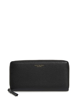 Perry Leather Continental Zip Wallet by Tory Burch