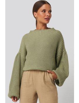 Sweter Z Dzianiny Z Bufiastym Rękawem Zielony by Na Kd