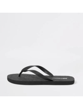 Black Ri Monogram Flip Flops by River Island