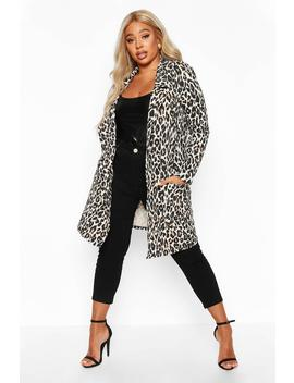 Plus Leopard Print Duster by Boohoo