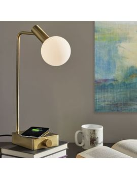 "Modern Deco Led Wireless Charging + Usb Task Lamp (17.5"") by West Elm"