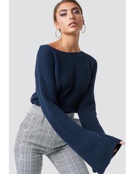 Krótki Sweter Z Dzianiny Z Długim Rękawem Niebieski by Na Kd