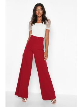 Tall Wide Leg Woven Trousers by Boohoo