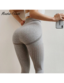 Monster 2019 Grey Blue Gym Tights Yoga Pants Women High Waisted Tummy Control Sport Leggings Fitness Seamless Leggings by Ali Express.Com