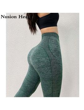 2019 Stretchy Fitness Gym Tights Tummy Control Yoga Pants High Waist Sport Impact Seamless Leggings Purple Running Pants Women by Ali Express.Com