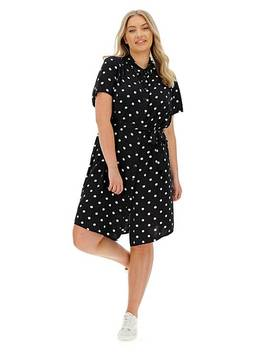 Junarose Tracy Polka Dot Shirt Dress by Simply Be