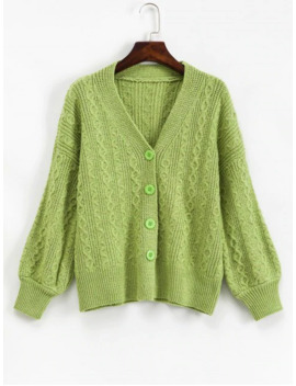 Cable Knit Drop Shoulder Single Breasted Cardigan   Green Apple by Zaful