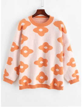 Sale Flower Graphic Crew Neck Loose Sweater   Basket Ball Orange by Zaful